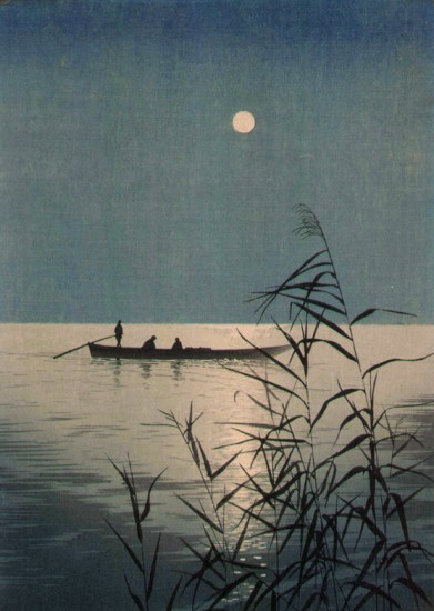 moonlit sea with boat